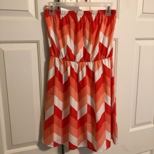 Strapless Orange & White Dress